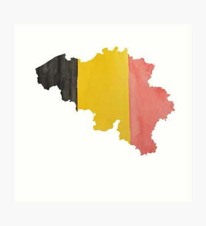 Belgium Country Outline in National Flag Belgian Tricolore Black, Yellow and Red Art Print