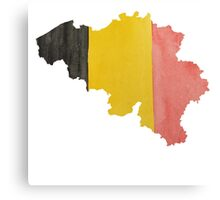 Belgium Country Outline in National Flag Belgian Tricolore Black, Yellow and Red Canvas Print