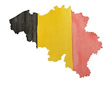Belgium Country Outline in National Flag Belgian Tricolore Black, Yellow and Red Photographic Print