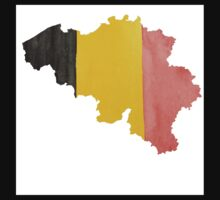 Belgium Country Outline in National Flag Belgian Tricolore Black, Yellow and Red Kids Tee
