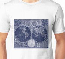 World Map (1794) Blue & White  Unisex T-Shirt