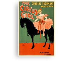 The circus girl, black horse, vintage antique advertisement Canvas Print