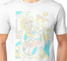 Cubism girl with cat Unisex T-Shirt