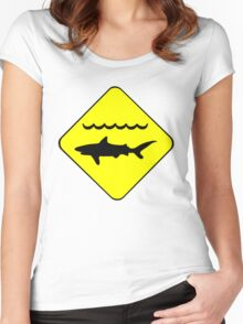 Warning Sharks Symbol Women's Fitted Scoop T-Shirt