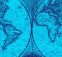 World Map (1794) Light Blue & Blue  Sticker