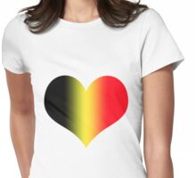 Heart in Belgium Flag Colors Womens Fitted T-Shirt