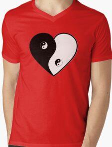 Ying Yang Heart (Bordered) Mens V-Neck T-Shirt