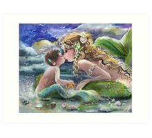 Mermaid and Mermboy on the Beach Art Print
