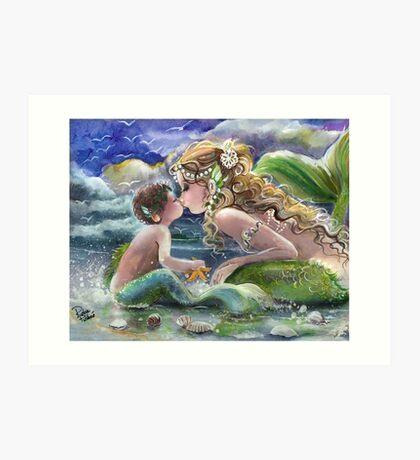 Mermaid and Mermboy on the Beach Art Print