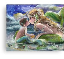 Mermaid and Mermboy on the Beach Canvas Print