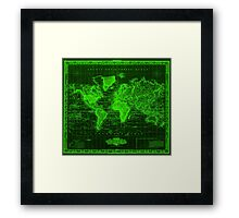 Vintage Map of The World (1833) Black & Green  Framed Print