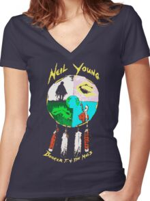 NEIL YOUNG Women's Fitted V-Neck T-Shirt