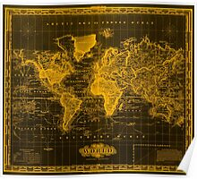 Vintage Map of The World (1833) Black & Orange  Poster