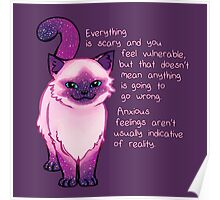 Anxiety Encouragement Galaxy Cat Poster