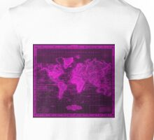 Vintage Map of The World (1833) Black & Pink  Unisex T-Shirt