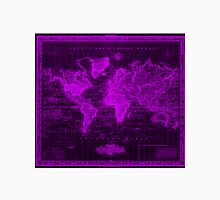 Vintage Map of The World (1833) Black & Purple  Unisex T-Shirt