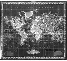 Vintage Map of The World (1833) White & Black Photographic Print