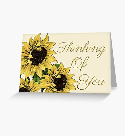 Rustic Sunflowers Thinking Of You Cards Greeting Card