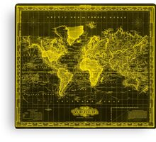 Vintage Map of The World (1833) Black & Yellow Canvas Print