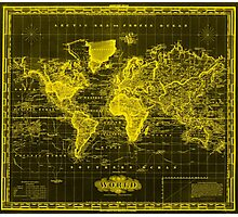 Vintage Map of The World (1833) Black & Yellow Photographic Print