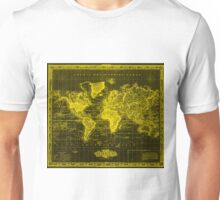 Vintage Map of The World (1833) Black & Yellow Unisex T-Shirt