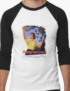 Women's Land Army Harvesting WW2 Men's Baseball ¾ T-Shirt