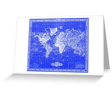 Vintage Map of The World (1833) Blue & White Greeting Card