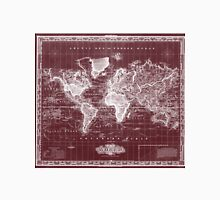 Vintage Map of The World (1833) Dark Red & White  Unisex T-Shirt