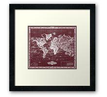 Vintage Map of The World (1833) Dark Red & White  Framed Print