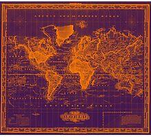 Vintage Map of The World (1833) Purple & Orange  Photographic Print