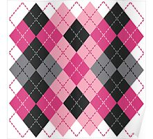Pink and Black Dashed Argyle Poster