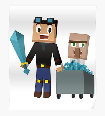The Diamond Minecart DanTDM and Doctor Trayaurus - Minecraft Youtuber Poster