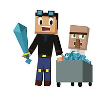 The Diamond Minecart DanTDM and Doctor Trayaurus - Minecraft Youtuber Photographic Print