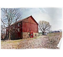 Red Barn In A Cornfield Poster