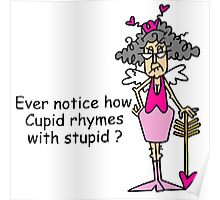 Sarcastic Love Cupid Rhymes With Stupid Poster
