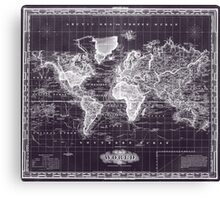 Vintage Map of The World (1833) Purple & White  Canvas Print