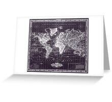 Vintage Map of The World (1833) Purple & White  Greeting Card
