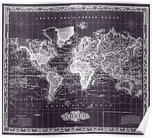 Vintage Map of The World (1833) Purple & White  Poster