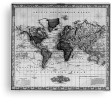 Vintage Map of The World (1833) White & Black Canvas Print