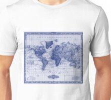 Vintage Map of The World (1833) White & Blue Unisex T-Shirt