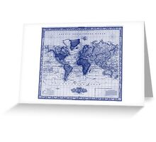 Vintage Map of The World (1833) White & Blue Greeting Card