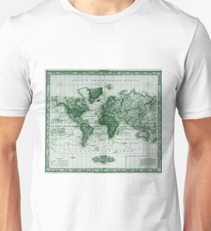 Vintage Map of The World (1833) White & Green  Unisex T-Shirt