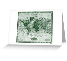 Vintage Map of The World (1833) White & Green  Greeting Card