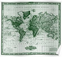 Vintage Map of The World (1833) White & Green  Poster
