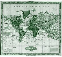 Vintage Map of The World (1833) White & Green  Photographic Print