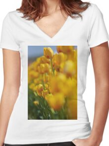 Yellow Tulips Women's Fitted V-Neck T-Shirt