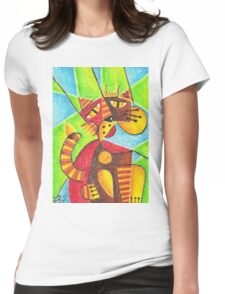 Cubism king cat Womens Fitted T-Shirt