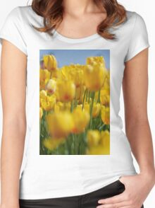 Yellow Field of Tulips Women's Fitted Scoop T-Shirt