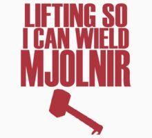Lifting to Wield Mjolnir Kids Tee