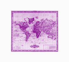 Vintage Map of The World (1833) White & Purple Unisex T-Shirt